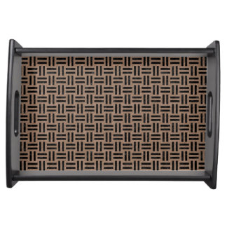 WOVEN1 BLACK MARBLE & BROWN COLORED PENCIL (R) SERVING TRAY