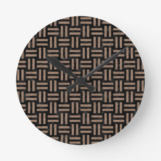 WOVEN1 BLACK MARBLE & BROWN COLORED PENCIL ROUND CLOCK