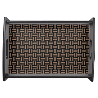 WOVEN1 BLACK MARBLE & BROWN COLORED PENCIL SERVING TRAY