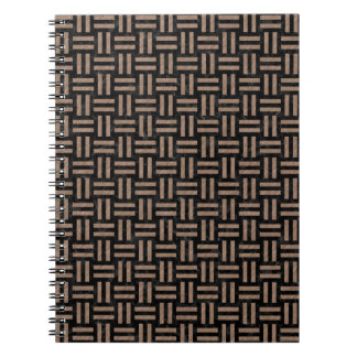 WOVEN1 BLACK MARBLE & BROWN COLORED PENCIL SPIRAL NOTEBOOK
