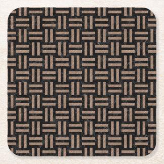 WOVEN1 BLACK MARBLE & BROWN COLORED PENCIL SQUARE PAPER COASTER