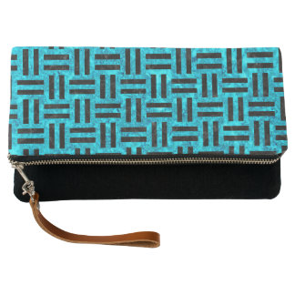 WOVEN1 BLACK MARBLE & TURQUOISE MARBLE (R) CLUTCH
