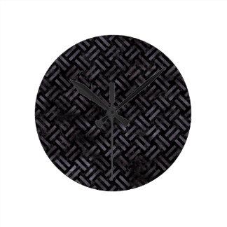 WOVEN2 BLACK MARBLE & BLACK WATERCOLOR ROUND CLOCK