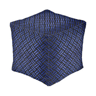 WOVEN2 BLACK MARBLE & BLUE BRUSHED METAL POUF