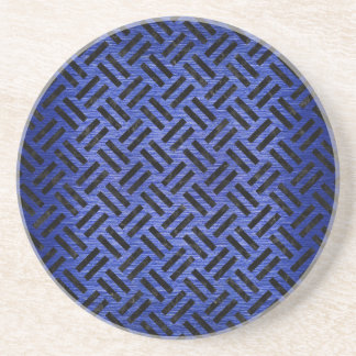 WOVEN2 BLACK MARBLE & BLUE BRUSHED METAL (R) COASTER