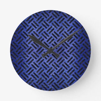 WOVEN2 BLACK MARBLE & BLUE BRUSHED METAL (R) ROUND CLOCK