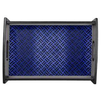 WOVEN2 BLACK MARBLE & BLUE BRUSHED METAL (R) SERVING TRAY