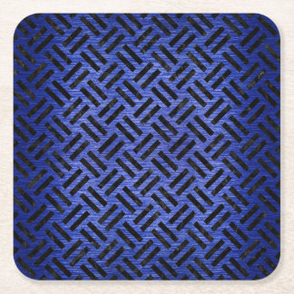 WOVEN2 BLACK MARBLE & BLUE BRUSHED METAL (R) SQUARE PAPER COASTER