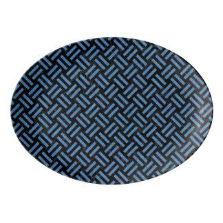 WOVEN2 BLACK MARBLE & BLUE COLORED PENCIL PORCELAIN SERVING PLATTER