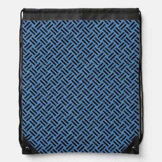 WOVEN2 BLACK MARBLE & BLUE COLORED PENCIL (R) DRAWSTRING BAG