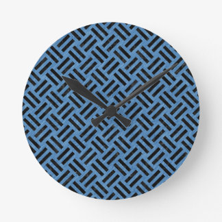 WOVEN2 BLACK MARBLE & BLUE COLORED PENCIL (R) ROUND CLOCK