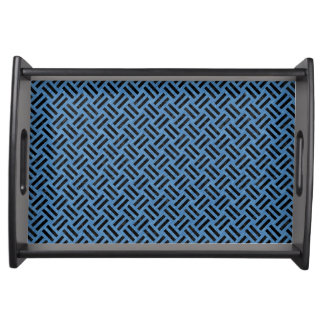 WOVEN2 BLACK MARBLE & BLUE COLORED PENCIL (R) SERVING TRAY