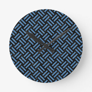 WOVEN2 BLACK MARBLE & BLUE COLORED PENCIL ROUND CLOCK