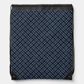 WOVEN2 BLACK MARBLE & BLUE DENIM DRAWSTRING BAG