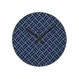 WOVEN2 BLACK MARBLE & BLUE DENIM (R) ROUND CLOCK