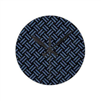 WOVEN2 BLACK MARBLE & BLUE DENIM ROUND CLOCK