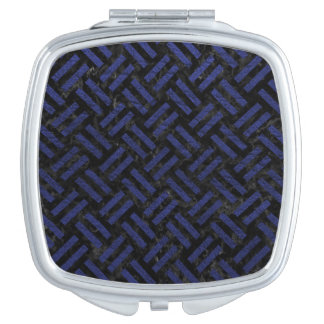 WOVEN2 BLACK MARBLE & BLUE LEATHER COMPACT MIRRORS
