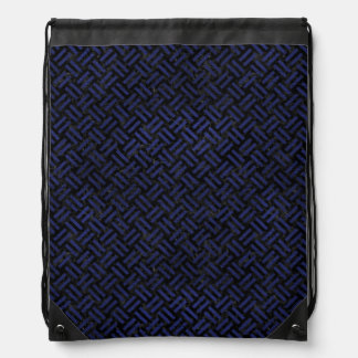 WOVEN2 BLACK MARBLE & BLUE LEATHER DRAWSTRING BAG