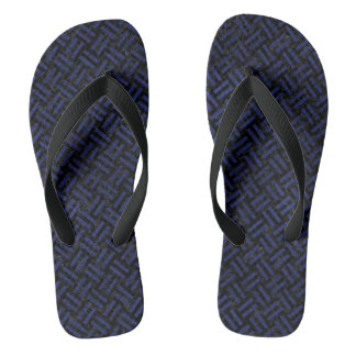 WOVEN2 BLACK MARBLE & BLUE LEATHER FLIP FLOPS