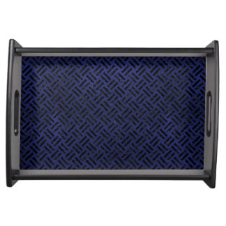 WOVEN2 BLACK MARBLE & BLUE LEATHER (R) SERVING TRAY