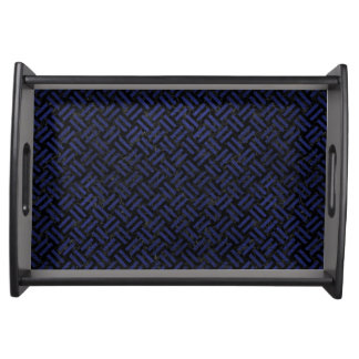 WOVEN2 BLACK MARBLE & BLUE LEATHER SERVING TRAY