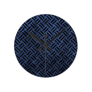 WOVEN2 BLACK MARBLE & BLUE STONE (R) ROUND CLOCK