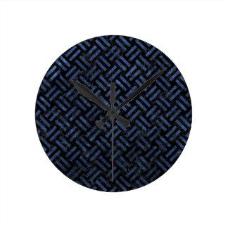 WOVEN2 BLACK MARBLE & BLUE STONE ROUND CLOCK
