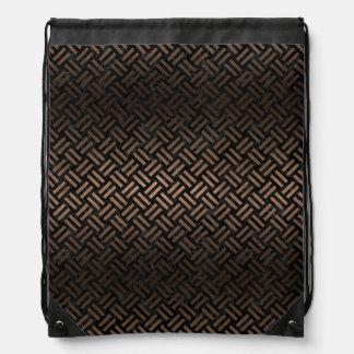 WOVEN2 BLACK MARBLE & BRONZE METAL DRAWSTRING BAG