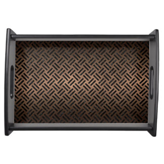 WOVEN2 BLACK MARBLE & BRONZE METAL (R) SERVING TRAY