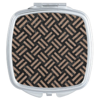 WOVEN2 BLACK MARBLE & BROWN COLORED PENCIL MIRROR FOR MAKEUP