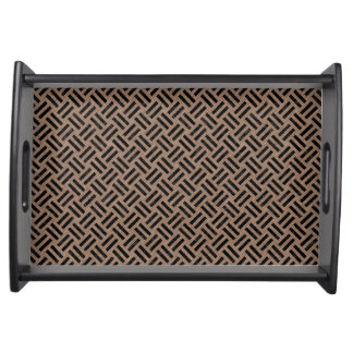 WOVEN2 BLACK MARBLE & BROWN COLORED PENCIL (R) SERVING TRAY