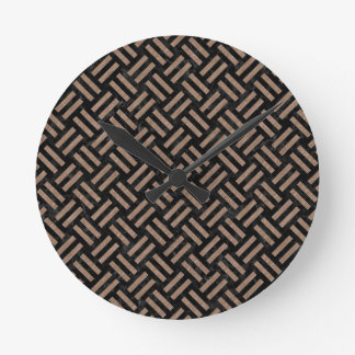 WOVEN2 BLACK MARBLE & BROWN COLORED PENCIL ROUND CLOCK