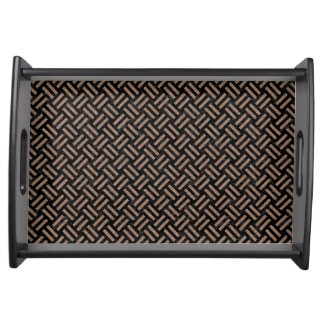 WOVEN2 BLACK MARBLE & BROWN COLORED PENCIL SERVING TRAY