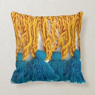 Woven Braided Tribal Tassles Throw Pillow