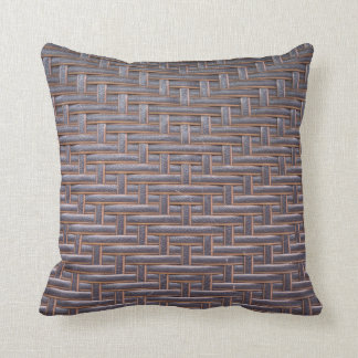 Woven Faux Leather Throw Pillow