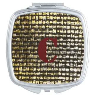Woven Gold Monogram Compact Mirror