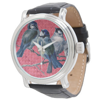 """Woven Harakeke""- Magenta with Spring birds Watch"