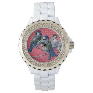 """Woven Harakeke""- Magenta with Spring birds Wrist Watch"