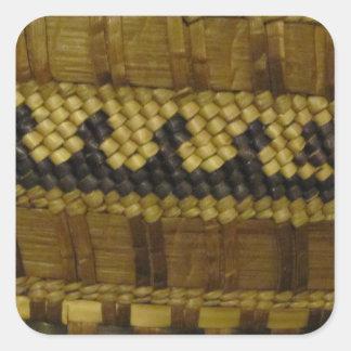 Woven NW Coast Indian Fiber Art Square Sticker