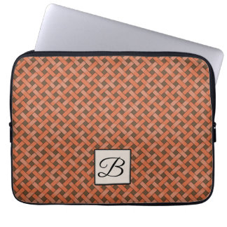 Woven Orange Rattan on Custom Brown with Monogram Laptop Sleeve