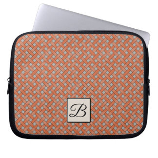 Woven Orange Rattan on Custom Grey with Monogram Laptop Sleeve