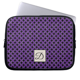 Woven Purple Rattan on Custom Black with Monogram Laptop Sleeve