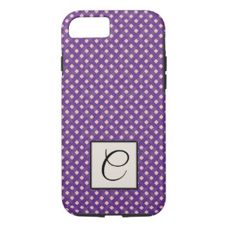 Woven Purple Rattan on Custom Pink with Monogram iPhone 8/7 Case