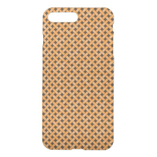 Woven Rattan Pattern Orange on Custom Brown iPhone 8 Plus/7 Plus Case