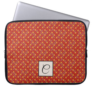 Woven Red Rattan on Custom Orange with Monogram Laptop Sleeve