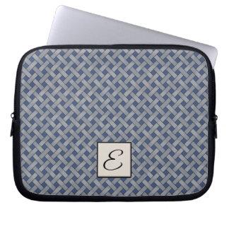Woven Silver Rattan on Custom Blue with Monogram Laptop Sleeve
