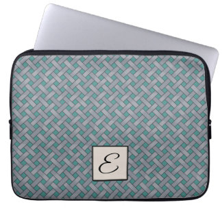 Woven Silver Rattan on Custom Teal with Monogram Laptop Sleeve