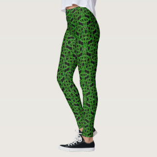 Woven Strings Green Leggings