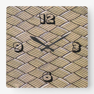 Woven time square wall clock