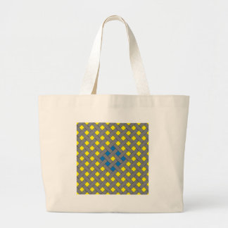 Woven/Wicker-look Pattern Blue, Yellow, Gray Large Tote Bag